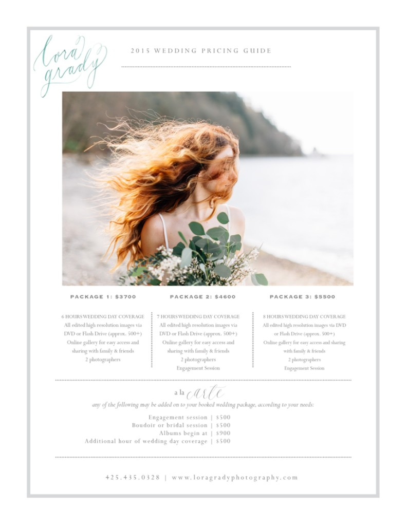 my pricing guide lora grady photography